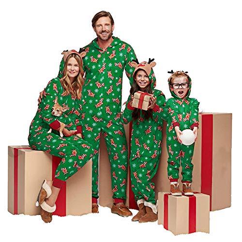 Familien Weihnachten Pyjamas Set Schlafanzug Jumpsuit Hoodie mit Reißverschluss Kapuze Schlafanzüge Overall Hausanzug für die Familien (Grün Herren, M)