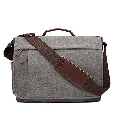 Neuleben Vintage Groß Umhängetasche Schultertasche 17 Zoll Laptoptasche Canvas Messenger Bag Damen Herren (Grau)