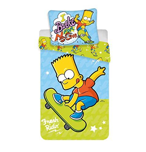 Simpsons Bart Skate Bettwäsche, Bettbezug für Einzelbett, 100 % Baumwolle