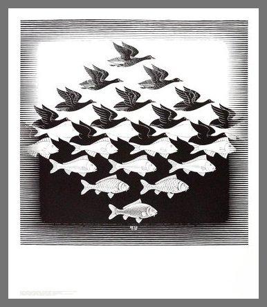 Germanposters MC Escher Poster Kunstdruck Bild Luft und Wasser im Alu Rahmen in Champagne 71x61cm