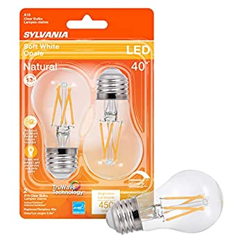 SYLVANIA LED TruWave Natural Series Ceiling Fan / Fixture Light Bulb 40W A15 Soft White Medium Base Dimmable Clear - 2 Pack