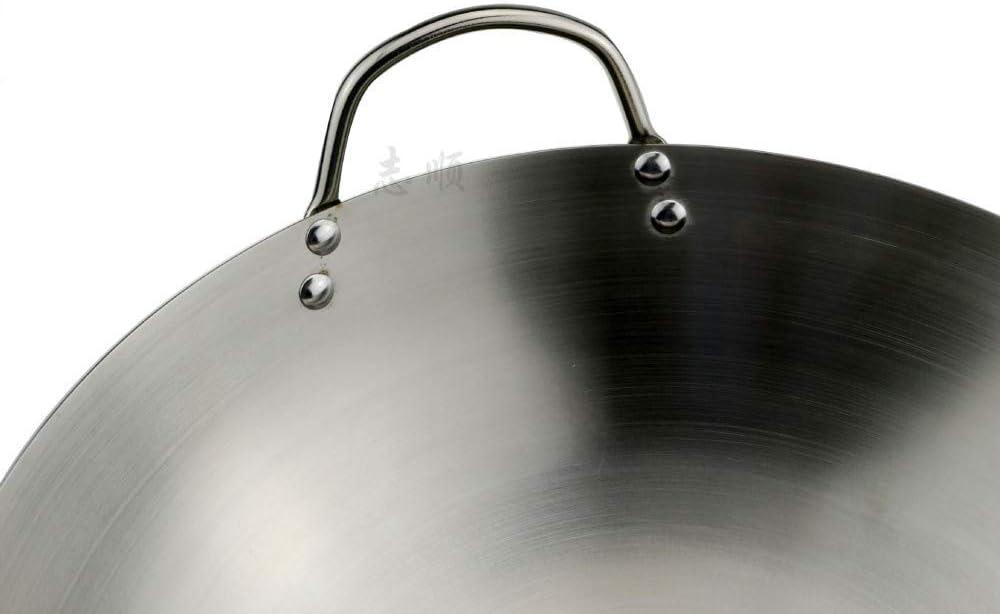 Casseroles Wok - Poêle à Sauter Non Revêtue, Grand Wok/Saute Professionnel, avec Poignée en Acier, Wok Polyvalent en Acier Inoxydable, 50 Cm, 55 cm 60cm