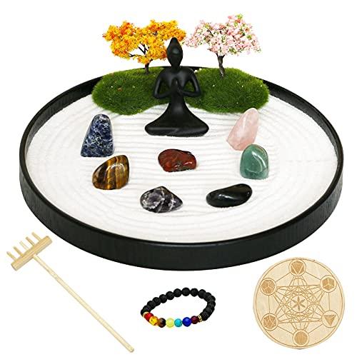 Chakra Stone Yoga Zen Garden - Meditation Altar Kit Set Crystal Quartz Rock Sand Zen Rake...