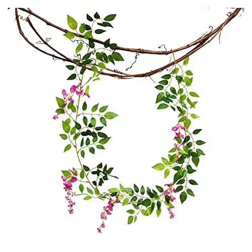 JSJJAES Artificial Flowers 200cm White Wisteria Artificial Flowers Garland Vine with Green Leaves for Wedding Arch Home Door Party Decoration (Color : Purple Red)