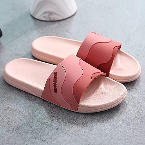 JFHZC Zapatillas de Ducha,Sandalias y Zapatillas para el hogar con Punta Abierta y Fondo Suave Antideslizante, Zapatillas de Secado rápido para Piscina de baño para Parejas-Red_38-39