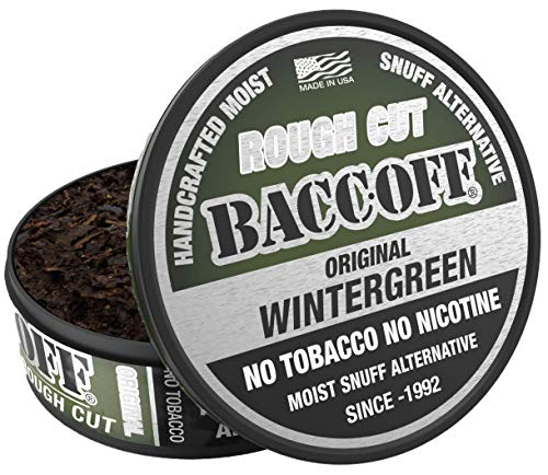 BaccOff, Original Wintergreen Rough Cut, Premium Tobacco Free, Nicotine Free Snuff Alternative (10 Cans)