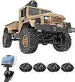 Coche Teledirigido RC con Cámara 480P HD FPV, 1/16 Juguete de Coche Militar de Proporción Completa, 4WD Coche de Control Remoto, Vehículo Todoterreno Pesado de 2.4GHz, Regalos para Niños y Adulto