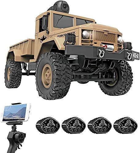 4WD Ferngesteuertes Auto Offroad RC mit 480P HD FPV-Kamera for Erwachsene, 1/16 Full Proportion Militärauto-Spielzeug, 2,4 GHz schweres Geländefahrzeug, Spielzeug Geschenke für Kinder