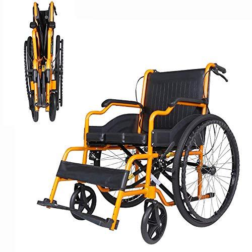 QFUNDAS Silla de Ruedas eléctrica Eléctrico, Silla de Ruedas Plegable para Pacientes discapacitados con Freno, Asistente de Transporte de Viaje portátil y liviano y