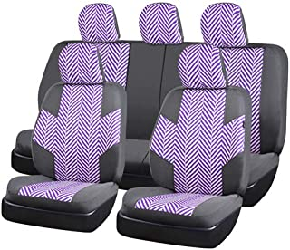 CAR PASS HOMESTYLE Linen Universal Fit Car Seat Covers with Opening Holes,Universal fit for Suvs,Cars,Trucks,Sedans,Vans,Airbag Compatible(Black with Purple)