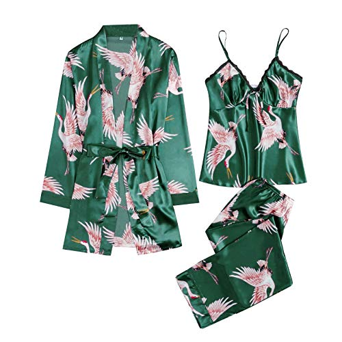 MAWOLY Pigiama Biancheria Intima Donne Pizzo di Seta Abito Robe Camicia da Notte Kimono Sexy Pigiama—Set da 3 Pezzi