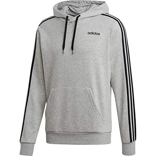adidas Herren Essentials 3-Streifen French Terry Hoody, Medium Grey Heather/Black, M