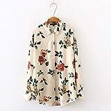 A-HXTM Camisa Mujer Blusa de Gasa con Estampado Floral Rosa Manga Larga Camisa Informal de Gran tamaño Las Blusas de Estilo Femenino se aplican al Trabajo Negocios o Uso Diario etc.-M_Floral_Print