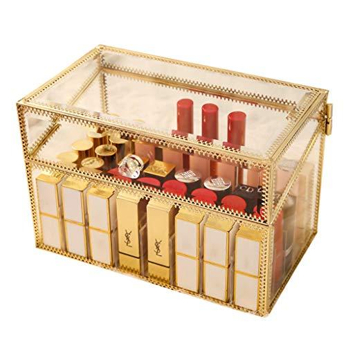 Superbe support de rouge à lèvres porte-verre sans poussière en verre transparent brillant à lèvres eye-liner vanité armoire maquillage organisateur avec séparateurs amovibles 40 espaces (or)