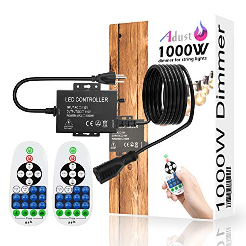 Adust 1000W Outdoor Plug in Dimmer Switch for String Lights, AC 110V Bulbs Dimmer Switch with 9.8 Ft Extension Cord, 3 Prong Outlet, 65 Ft Wireless Remote Control, Waterproof IP65, Timer F (9.8Ft)