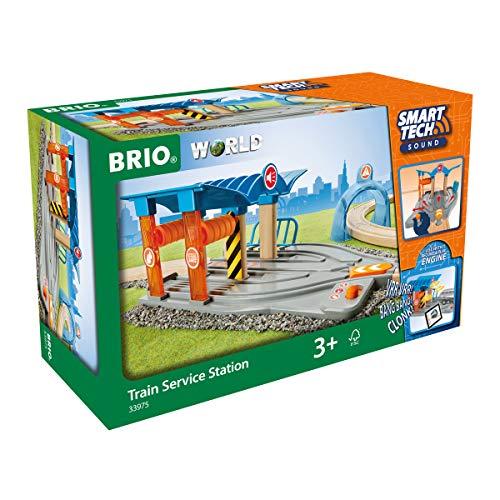 BRIO World 33975 Smart Tech Sound Waschstraße mit Werkstatt – Zubehör für die BRIO Holzeisenbahn - Interaktives Spielzeug empfohlen ab 3 Jahren