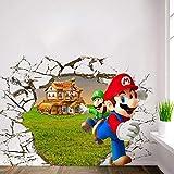Decoración de la habitación de los niños póster de Anime Super Divertido Mario Bros Pared Rota Pegatinas de Vinilo Creativas Hermoso Fondo de Pantalla de Dibujos Animados 1 57x110cm