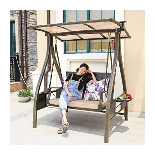 YYDD Patio Swings Chair with Cushions and Canopy, Porch Swing Outdoor Chair Lazy Daze Hammocks Swing Bench Suitable for Patio, Garden, Poolside, Balcony