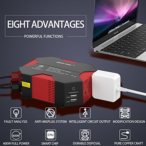 BESTEK 400W/500W DC 12V 110V Inverter with 4 USB Charging Ports, Power Converter with 2 AC Outlets Battery Clip Charger, Car Adapter (Upgrade Version)