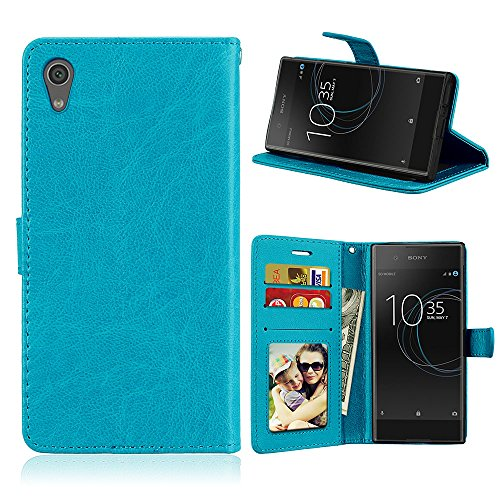 Fatcatparadise Kompatibel mit Sony Xperia Z6 / XA1 Hülle + Bildschirmschutz, Flip Wallet Hülle mit Kartenhalter & Magnetverschluss Halterung PU Leder Hülle handyhülle (Blau)