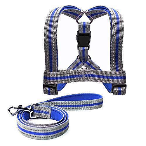 OMGMAN Dog Brustgurt Set Tauchen Tuch Anti-Kragen Kragen Doppel Stoff Nacht Spiegelung leicht zu tragen und einstellen,Blue,1.5 * 120cm