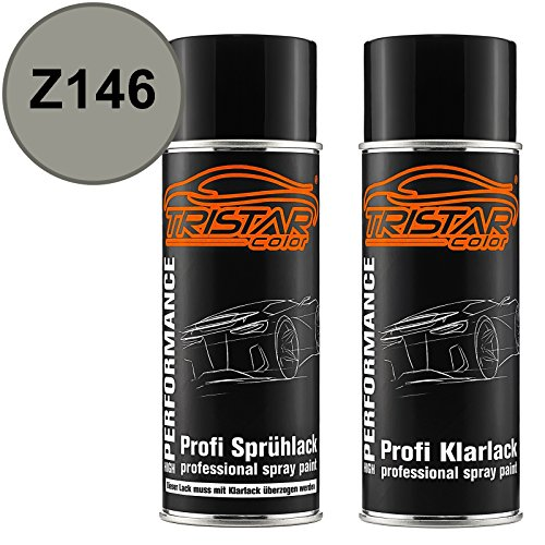 TRISTARcolor Autolack Spraydosen Set für Gen. Motors/Holden Z146 Olive Grey Metallic Basislack Klarlack Sprühdose 400ml