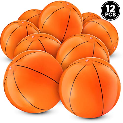 Bedwina Inflatable Basketballs (Pack of 12) 16 inch, Beach Balls for Sports Themed Birthday Parties, Beach Pool Party, Games, Favors, Stocking Stuffers