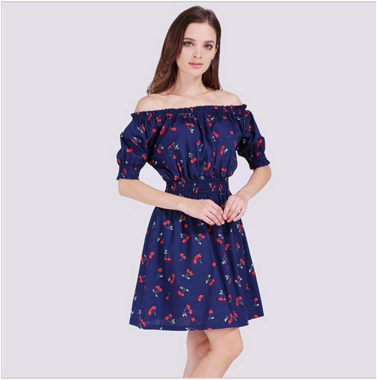 CARRY Dress, European and American Big Comfortable, Soft Long Female Dress, Short Sleeve, One Shoulder Print Dress (Size   L)