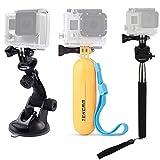 TEKCAM Juego Ventosa Mano con Soporte de Agarre Flotantey Kits Selfie Stick Compatible con Gopro Hero 7 6 5/AKASO EK7000/APEMAN/Victure/Crosstour 4K Accesorios Cámara Acción Impermeable
