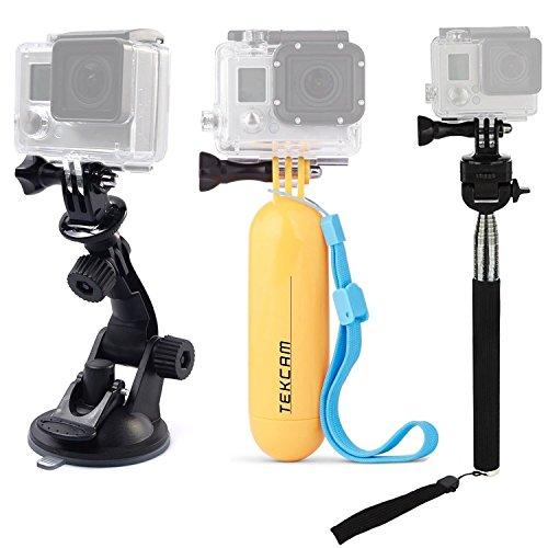 TEKCAM Auto-Saugnapf Floating Handheld Mount Selfie Stick Kits Kompatibel mit Gopro Hero 7 6 5/AKASO EK7000/APEMAN/Victure/Crosstour 4K Wasserdichtes Sport Action Kamera Zubehör