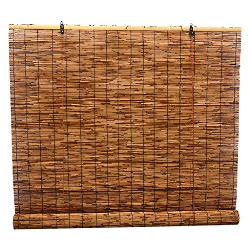 QHW Persianas enrollables de bambú Natural-Persianas Romanas, 80% de sombreado/Anti-Ultravioleta/Impermeable, privacidad de Las Cortinas de división del balcón, Tejidas a Mano, con Elevador