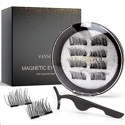 Vassoul Dual Magnetic Eyelashes, NaturaL Half & Accent Lashes, Lightweight & Best 3D Reusable Lashes with Applicator (8PCS)
