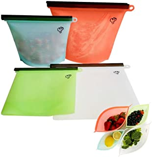 Reusable Silicone Food Storage Bags 4 Packs,2 Large & 2 Small Preservation Container, Airtight Seal Versatile Cooking Bag,Food Saver Bag for Freezer, Lunch,Microwave, Vegetable, Meat, Snack, Sous Vide