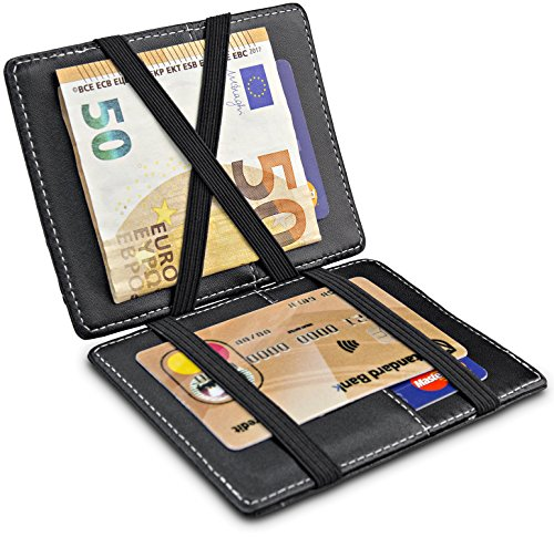 TRAVANDO ® Magic Wallet mit Münzfach Vegas Geldbörse Herren klein Slim Portemonnaie Mini Wallets for Men Geldbeutel Männer dünn Portmonee Brieftasche Geschenk Kreditkartenetui Portmonaise Portmonai