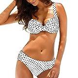 Btruely Damen Sommer Bandeau Gepolsterte Bikini-Set High Tailleed Bikini Zweiteiliger Bademode Swimsuit Beachwear Punkt Gedruckt Floral...