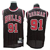CCKWX Maglie da Uomo - Chicago Bulls # 91 Dennis Rodman Maglie Vintage, Tessuto Traspirante Fresco Swingman Maglie da Basket Canottiera T-Shirt,Nero,L:180cm/75~85kg