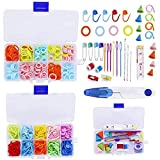 385 Pieces Stitch Markers Knitting Kit, Plastic Knitting Crochet Locking Stitch Needle Clip Row Counters Markers Split Rings Holders,Needle Point Protectors/Stoppers