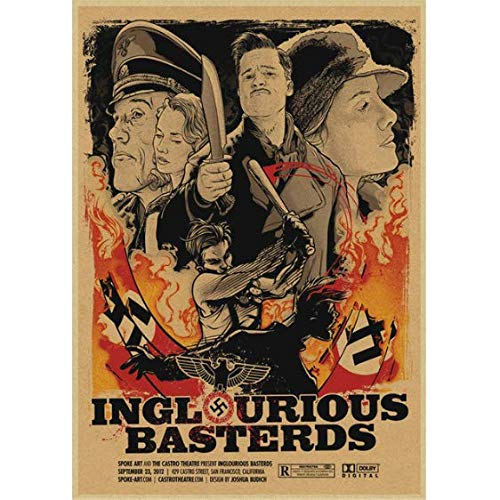 daerduotutu Bastardi Senza Gloria Quentin Tarantino Film Classici Arredamento per la casa Decorazione Adesivi murali Poster cinematografici A435 50 × 70 cm Senza Cornice
