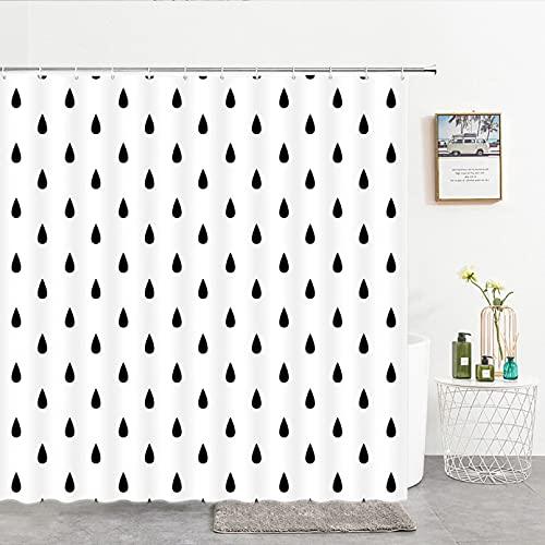 Fmiljiaty Cortinas de ducha de tela con estampado de gotas de lluvia, color negro, blanco, cortina de baño, decoración de pantalla con ganchos, 180 x 180 cm