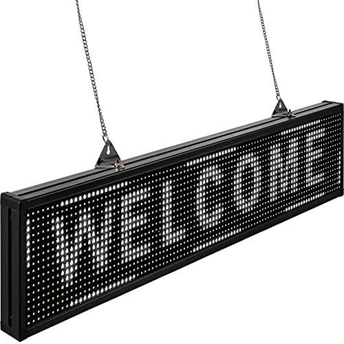 VEVOR Rótulo LED Electrónico 100 x 20 x 5,5cm Letrero de Desplazamiento LED 96 x 16 Píxeles Letrero Rectangular Pantalla LED Publicitaria Blanca para Centros Comerciales, Publicidades, Negocios