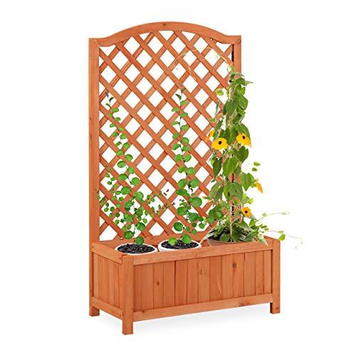 Relaxdays Rankkasten mit Rankgitter, wetterfest, Holz, Balkon, Garten, Rosen, Wein, 20 l Kübel, Rankhilfe, orangebraun