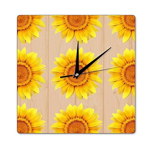 Pealrich Sunflower Element - Reloj de pared cuadrado de madera, 12 x...