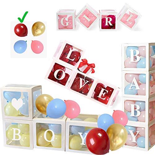 60Stk XXL Party Geburtstag Deko Set: 4Stk Luftballon Boxen 40 Bunte Luftballons 16 Buchstaben Aufkleber Baby Boy Girl Love🤍, Party Deko Baby, Baby Shower Party Junge oder Mädchen, Gender Reveal Party