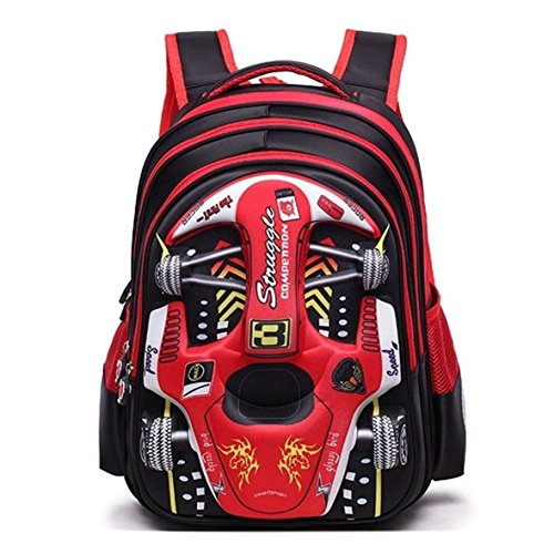 3D Waterproof Boys Backpack Cool Car Cartoon Primary School Bookbag