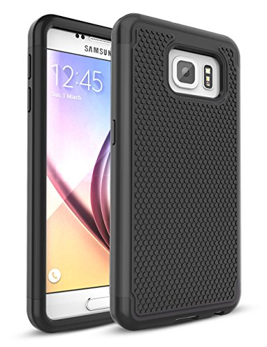 Galaxy S6 Case,TILL [Protective Buffer] Shock Absorbing Dual Layer Hybrid Rubber Plastic Impact Defender Rugged Slim Hard Case Cover Shell for Samsung Galaxy S6 S VI G9200 GS6 All Carriers [Black]