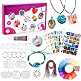 Girls Jewelry Making Kit- Charm Craft Kit for Teens Necklace Pendant Jewelry Gift Set, 16Pcs DIY Crafts Pendants for Necklace, Bracelet and Keychain Craft Making, Cool Birthday Christmas Supplies
