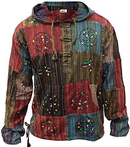 SHOPOHOLIC FASHION Stonewashed Streifen Patchwork Hippie Kapuze Großvater Shirt - Multi, Multi, 3XL