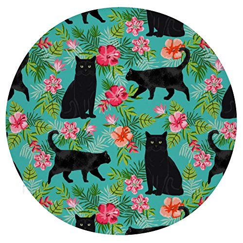 TOBEEY Black Cat And Pink Flowers Pattern Round Chair Pad Reduces Pressure Throw Pillows Non Slip Seat Pads for Bay Window