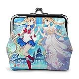 Sailor Moon Anime Girl Cartera de piel con cierre de gran capacidad para mujeres y hombres, monedero de cambio, carteras de almacenamiento, bolsas de embrague
