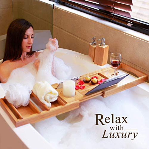 Domax Bathtub Caddy Tray Expandable Bamboo Tub Tray for Luxury Bath with Book Holder and Free Soap Dish Alabama